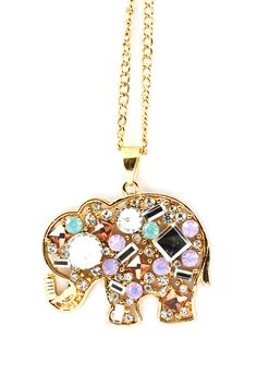 LOVE this elephant necklace with mint and lilac crystals