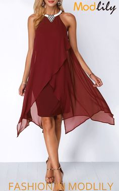 Embellished Neck Chiffon Overlay Wine Red Dress On Sale. $34.47. Buy cheap and special chiffon dress at Modlily. Go now!