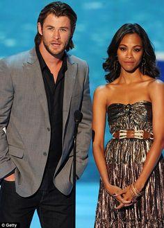 Thor blimey: Zoe appeared onstage alongside Marvel star Chris Hemsworth at the 2011 Teen Choice Awards