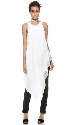 Donna Karan New York Sleeveless Asymmetric Top Más Mode Style, Style Me, Lingerie Look, Asymmetrical Tops, Look Chic, Donna Karan, Casual Chic, Spring Summer Fashion, Cute Outfits