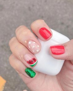 Want some ideas for wedding nail polish designs? This article is a collection of our favorite nail polish designs for your special day. Cute Summer Nail Designs, Cute Summer Nails, Cute Nails, Pretty Nails, Fruit Nail Designs, Nail Summer, Summer Design, Shellac Nails, Red Nails