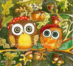 Owl art Acorn Woodland owl painting wall art  by sublimecolors