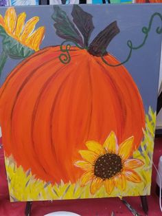 Paint Party, Pumpkin, Painting, Pumpkins, Painting Art, Paintings, Squash, Painted Canvas, Drawings