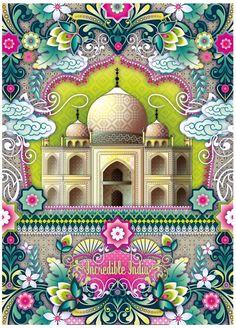 """Incredible India"" - Taj Mahal illustration ~ by Catalina Estrada Taj Mahal India, Indian Illustration, Travel Illustration, India Art, India India, Truck Art, Vintage Travel Posters, Art Plastique, Of Wallpaper"