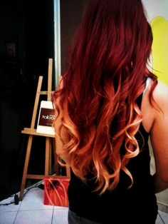 long hair , redhead , red ombre I love my new hair color!!!