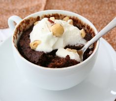 "Chocolate Hazelnut Mug Cake - I'd probably make this over into a ""Chocolate Almond Mug Cake"" because I usually always have almonds on my pantry shelf.  I'd use Torani Hazelnut syrup in place of the hazelnut oil and almond extract and smart balance spread.  A dollop of whipped cream will finish this off quite nicely.  Thanks for sharing!!"