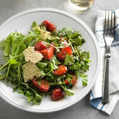 Strawberry and Arugula Salad with Manchego Fricos Every bite of our balsamic-and-strawberry salad tastes like summer. More summer-inspired recipes: http://www.bhg.com/recipes/from-better-homes-and-gardens/june-2013-recipes/