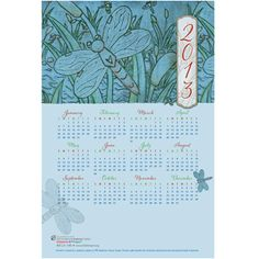 "Blue Dragonfly Poster Calendar  SKU: 357712F  Poster Calendar is 12"" x 18"" in size. It leaves your company name and good wishes with clients all year round. 25 minimum per imprint design. Maximum Imprint area is 5-1/4"" x 3"" Blank white 13"" x 19"" envelopes are available for .75 each - Sorry no imprinting on the envelopes.  http://capprintshop.org/cap/UserEditFormFilling.aspx"