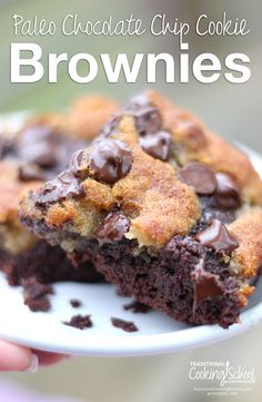 Paleo Chocolate Chip Cookie Brownies | This ooey-gooey, oh-so-chocolate-y recipe has wholesome ingredients and will serve a crowd. They're a brownie lover's dream... and a cookie lover's dream! | TraditionalCookingSchool.com