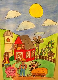 On the farm watercolor..... I need to scan and use in my classroom!!
