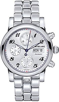 Montblanc Star Steel Collection Silver Dial Mens Watch 106468 https://www.carrywatches.com/product/montblanc-star-steel-collection-silver-dial-mens-watch-106468/  #chronograph #men #menswatches #montblanc #montblancwatch #montblancwatches - More Mont Blanc mens watches at https://www.carrywatches.com/shop/wrist-watches-men/montblanc-watches-for-men/