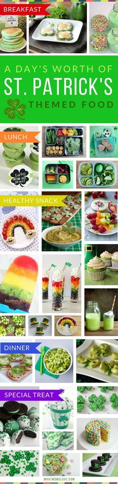 Healthy St Patricks Day Food Ideas. Forget the traditional potatoes and soda bread - reach for these green and rainbow inspired foods instead that your kids will love. Ideas for breakfast, lunch (bento box!), dinner and healthy snacks - plus special treats that are great for any St Pattys Day Party!