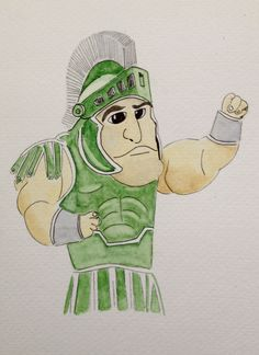 Watercolor and Ink of Sparty