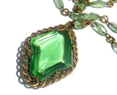Vintage Jewelry Necklace with Green Diamond Shaped Glass Pendant on Brass