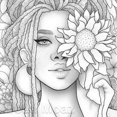 Printable coloring page Fantasy floral girl portrait wearing   Etsy Printable Adult Coloring Pages, Coloring Pages For Girls, Coloring Book Pages, Coloring Sheets, Tumblr Coloring Pages, Colouring Sheets For Adults, Zentangle, Girl Drawing Sketches, Tumblr Girl Drawing