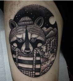 Raccoon with clothes tattoo by Susanne König