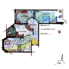 Вариант перепланировки типовой квартиры (почеркушки).