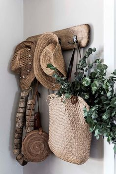 Straw hats and bags on a wooden bag hook at a home in Esperance, Western Australia | Photography and styling: Claire McFerran Mission Style Homes, Bag Rack, Wooden Bag, Glass Barn Doors, Shell Collection, Beach Shack, Blue Beach, Australian Homes, Step Inside
