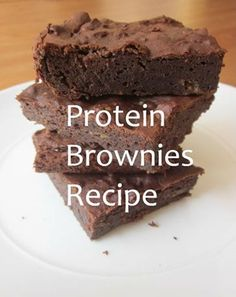 Protein Brownies using chocolate protein powder, almond milk, almond butter and stevia. Great post workout snack!