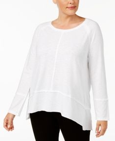 Style & Co Plus Size Seamed High-Low Top, Created for Macy's - White 0X