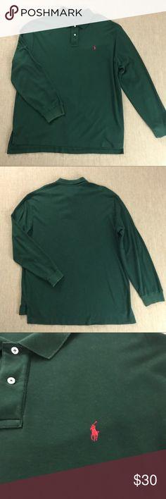 "Polo Ralph Lauren Long Sleeve Polo Shirt XXL GREEN Men's Polo Ralph Lauren Long Sleeve Navy Polo Shirt XXL 2XL GREEN. Excellent condition. 27"" armpit to armpit. Polo by Ralph Lauren Shirts Casual Button Down Shirts"