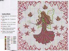 little pink fairy Cross Stitch Designs, Shapes, Pattern, Fairies, Stitches, Angels, Women, Summer Wreath, Cross Stitch Embroidery