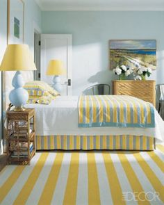 yellow & blue stripes: pretty summery bedroom