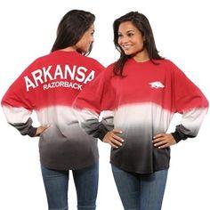Arkansas Razorbacks Women's Ombre Long Sleeve Dip-Dyed Spirit Jersey - Cardinal