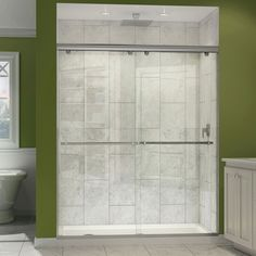 The Charisma shower door has a unique no wall profile design, combining the beauty of frameless glass with the convenience the sliding bypass operation. Most bypass shower doors require significant aluminum framing.