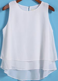 To find out about the White Round Neck Loose Dip Hem Chiffon Tank Top at SHEIN, part of our latest Tank Tops & Camis ready to shop online today! Sewing Clothes, Diy Clothes, Clothes For Women, Blouse Patterns, Blouse Designs, Make Your Own Clothes, Personalized T Shirts, Top Pattern, Pulls