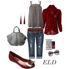 created by errica-d on Polyvore deep red and gray