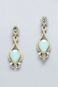 Crystal Daphne Earrings in Soft Turquoise on Emma Stine Limited