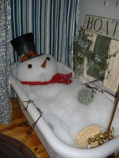 """OK... Just Imagine Your Guests Walking Into Your Bathroom At Your  Next Christmas Party...Lay Pillows Or Something Down In The Tub, Then With BattingForm Your """"Snowman & Bubbles""""...Add A Loofa, Top Hat, Scarf, Carrot Nose(Made From Felt) & Coal Eyes(Rocks Painted Black) & Twigs For Arms...I Love It..."""
