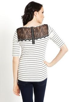 Striped boat neck shirt with lace panel
