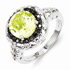 Sterling Silver Lemon Quartz and Black Diamond Ring #ModernbyMegeanContemporaryJewelry