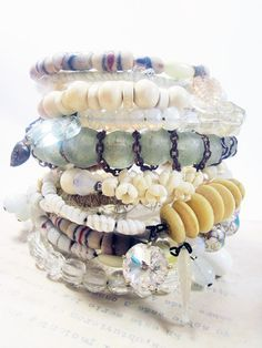 Bangle Stack - beach bohemian bridal jewelry - white on white - A Second Heart