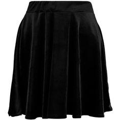 Boohoo Lissa Velvet Full Skater Skirt | Boohoo ($24) ❤ liked on Polyvore featuring skirts, knee length pleated skirt, mini skirt, pleated skirt, maxi circle skirt and flared skirt