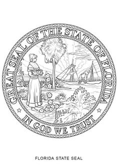 California State Seal Coloring Page Florida State Symbols ...