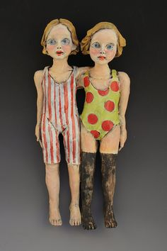D and D double figure ceramic sculpture by artist Victoria Rose Martin