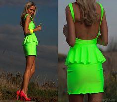 neon clothing | Neon peplum dress by Lukas :: fashion looks
