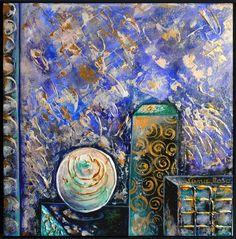 ATRIO AZUL 2014 / LUNA ROSA / 30x30cm/ Mixte sur toile / Oeuvre encadrée - Série ZUPCA MALKA Temples Sacrés