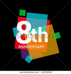8th anniversary logo, 8 years anniversary colorful vector design. geometric…