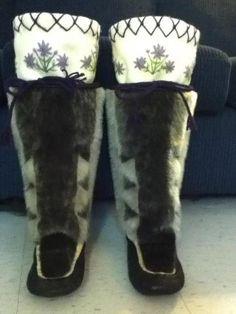 Inuit made women's sealskin kamiks by Natalina Natanine