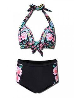 Plus Size Women Sexy Floral Printing Bikini High Waist Bikini Sets Bathing Suit