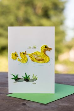 What an incredibly cute card! Your loved one will smile as they open it and view the amazing quilling. This is a great card for welcoming that new little one into the world! Scroll over the card to ge