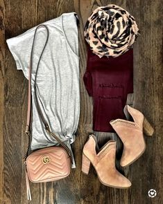 Cute early Fall outfit   Gray twist front tee and burgundy jeans from @mrscasual on IG