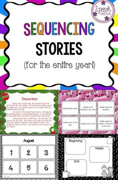 Speech Time Fun: Sequencing Stories for the entire year! Great way to work on recalling order of events using seasonal/holiday themes!
