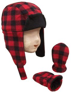4204a1e6109ca2 N ice Caps Baby Boys Buffalo Plaid Fleece Trooper Hat and Mitten Set (6-12  months)