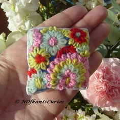 Abstract Floral Embroidered Brooch by NOfkantsCurios