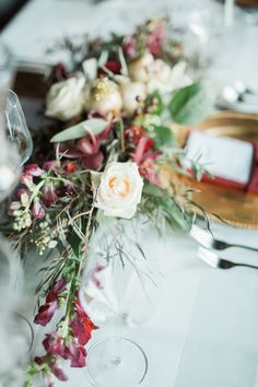 this wedding table decor by Sparks Weddings is chic and opulent, without being pretentious. Deep Burgundy, Burgundy And Gold, Burgundy Color, Decoration Table, Wedding Table, Sparkle, Weddings, Cream, Beautiful